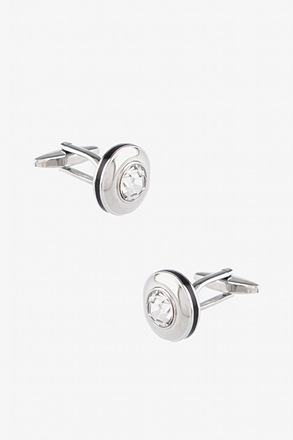 _Solid Round Gem Cufflinks_