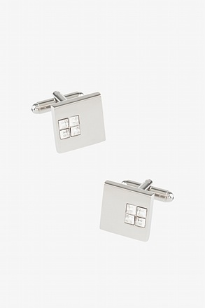 _Solid Studded Square Clear Cufflinks_