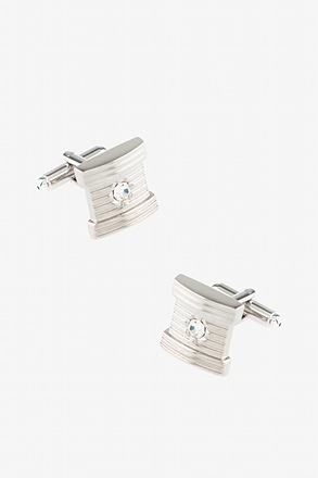 Square Etched Jewel Cufflinks
