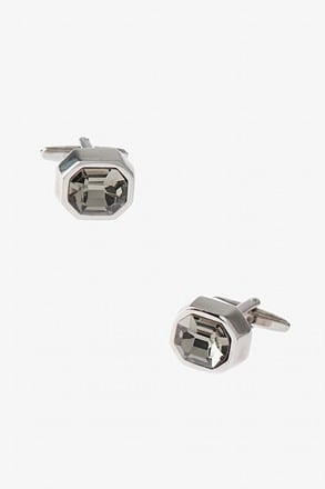 Thick Bejeweled Octagon Clear Cufflinks
