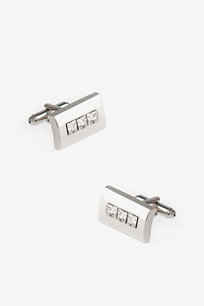 Three Bling Clear Cufflinks