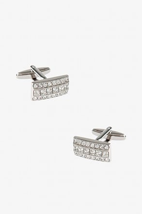 _Very Rhimestone Rectangle Clear Cufflinks_