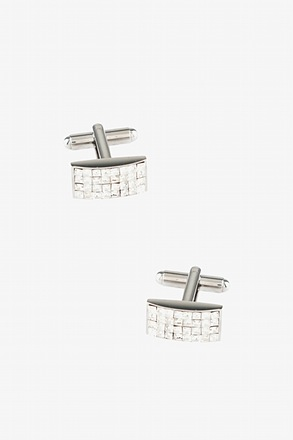 Arched Gems Clear Silver Cufflinks