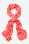 Heathered Solid Coral Knit Scarf by Scarves.com