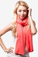 Coral Acrylic Heathered Solid Knit Scarf