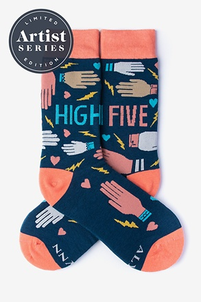 _Alynn® X Lisa Congdon High Five Coral Women's Sock_