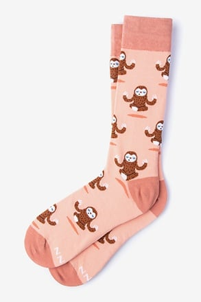 _Don't Hurry Be Happy - Sloths Coral Sock_