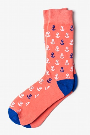 _Mini Anchors Coral Sock_