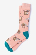 Coral Carded Cotton Sloth Sock