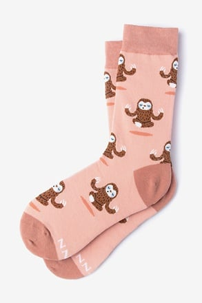 _Sloth Yoga Coral Women's Sock_