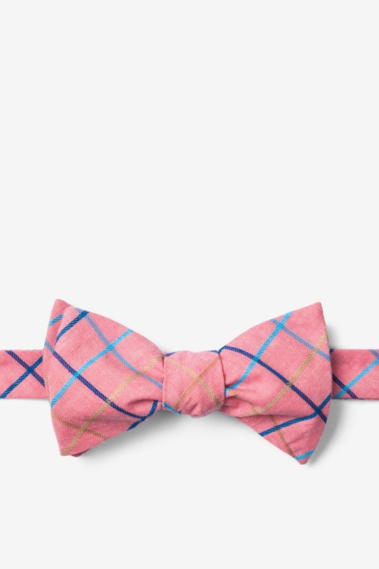 9db5a4020e0b Coral Cotton Reece Check Butterfly Self Tie Bow Tie | Ties.com