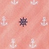 Coral Microfiber Anchors & Ships Wheels Extra Long Tie