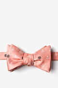 Coral Microfiber Anchors & Ships Wheels Self-Tie Bow Tie
