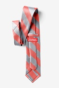 Coral & Silver Stripe Extra Long Tie Photo (1)