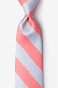 Coral & Silver Stripe Extra Long Tie Photo (0)