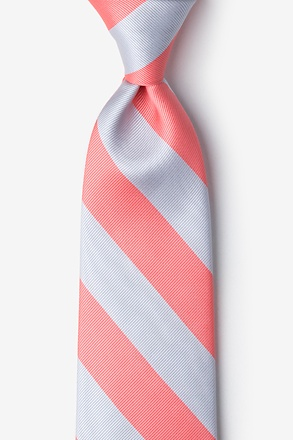 _Coral & Silver Stripe Extra Long Tie_