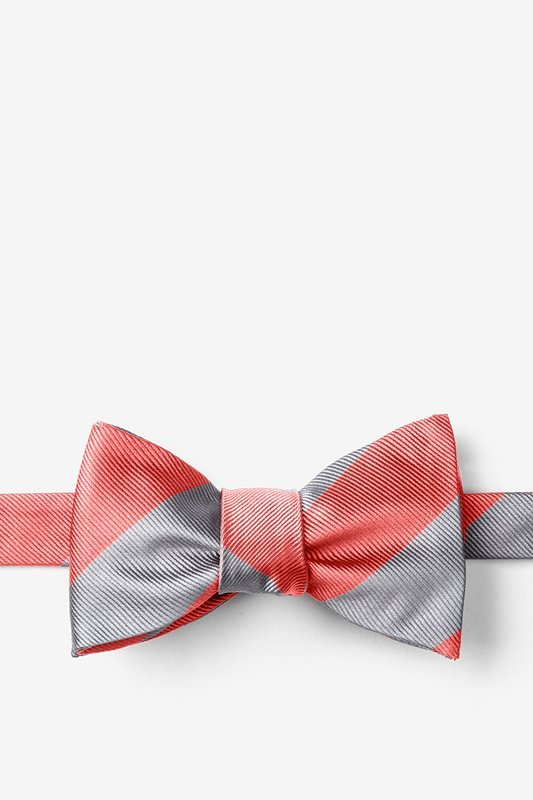 Coral & Silver Stripe Self-Tie Bow Tie