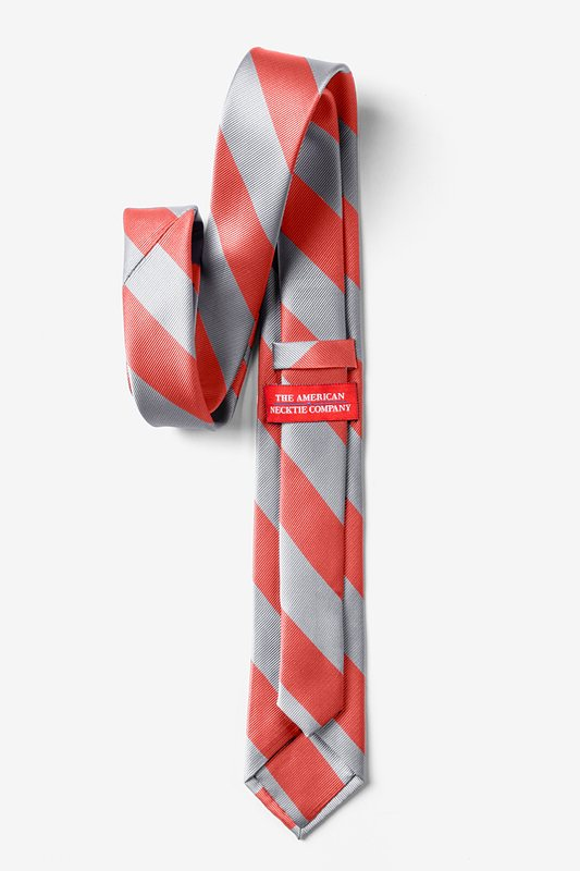 Coral & Silver Stripe Tie For Boys Photo (1)