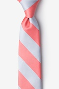 Coral & Silver Stripe Tie For Boys Photo (0)