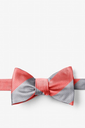 Coral And Silver Butterfly Bow Tie