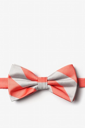 Coral And Silver Pre-Tied Bow Tie