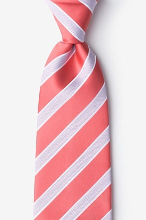 _Jefferson Stripe Coral Extra Long Tie_