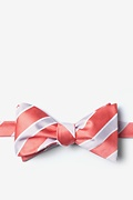 Coral Microfiber Jefferson Stripe Self-Tie Bow Tie