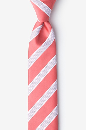 _Jefferson Stripe Coral Skinny Tie_