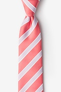 Coral Microfiber Jefferson Stripe Tie For Boys