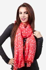 Coral Polyester Starry Night Scarf
