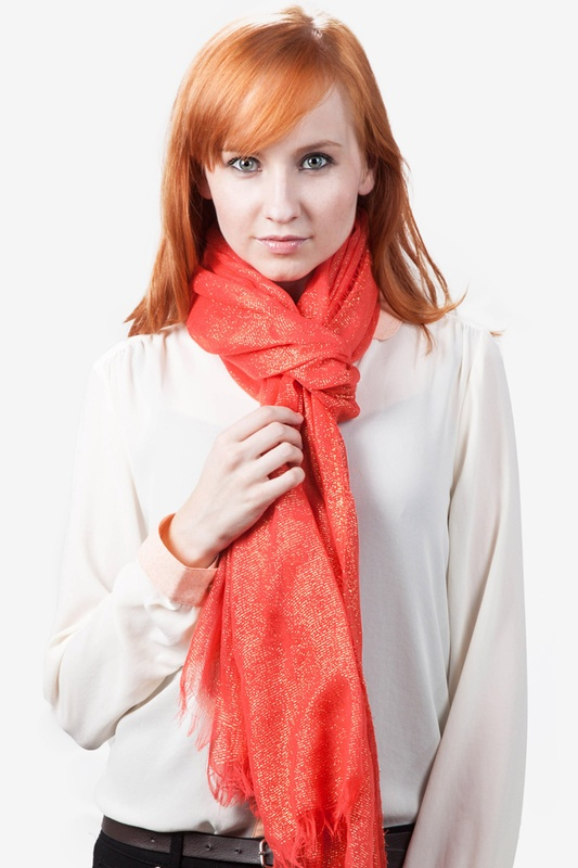 Twinkle Coral Scarf by Scarves.com