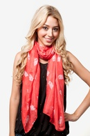 Coral Polyester What a Hoot Scarf