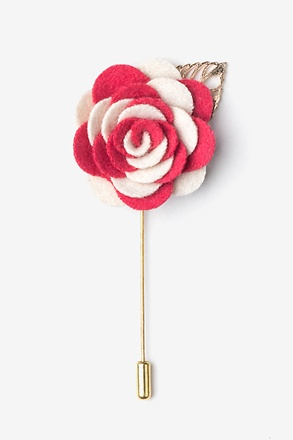 _Two-toned Flower Gold Leaf Coral Lapel Pin_