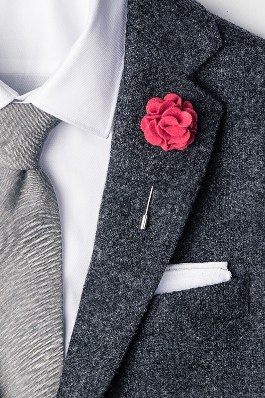 Coral Wool Felt Flower Lapel Pin