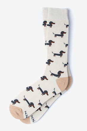 _Dachshund | Weiner Dog Cream Sock_