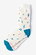 Cream Carded Cotton Music To My Toes Women's Sock