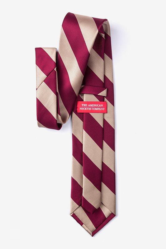 Crimson & Cream Stripe Extra Long Tie Photo (1)