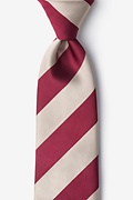 Crimson & Cream Stripe Extra Long Tie Photo (0)