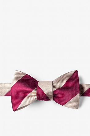 _Crimson & Cream Stripe Self-Tie Bow Tie_