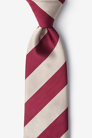 _Crimson & Cream Stripe Tie_