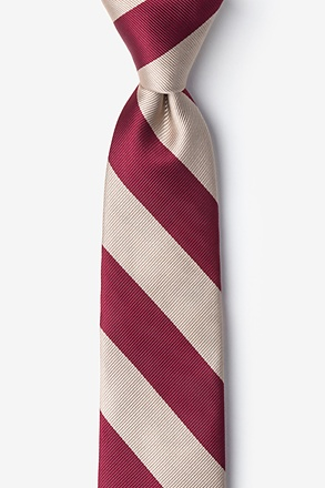 _Crimson & Cream Stripe Tie For Boys_