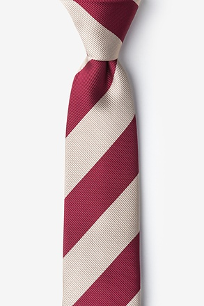 Crimson And Cream Stripe Skinny Tie