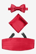Crimson Silk Crimson Self Tie Bow Tie Cummerbund Set