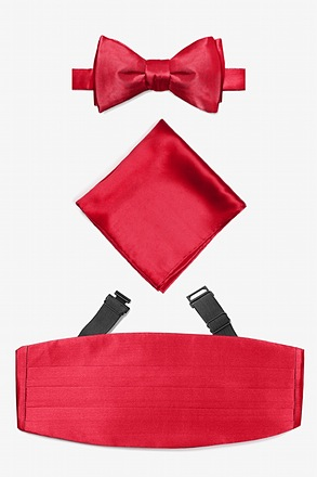 _Crimson Self Tie Bow Tie Cummerbund Set_