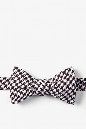 Dark Brown Blair Houndstooth Self-Tie Bow Tie