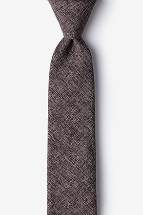 _Galveston Dark Brown Skinny Tie_