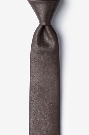 _Dark Brown Stafford Faux Leather Skinny Tie_