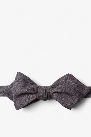 _Galveston Dark Gray Diamond Tip Bow Tie_