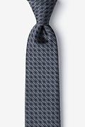 Dark Gray Silk Rhodes Extra Long Tie