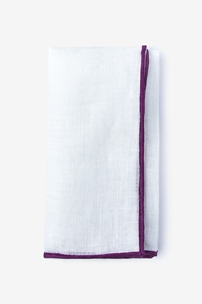 Deep Purple Edged Linen Pocket Square